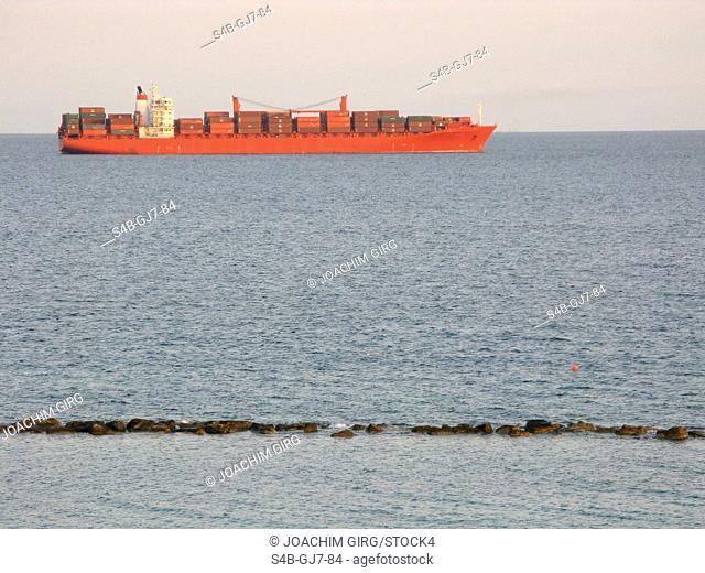 Container ship near Limassol, Cyprus
