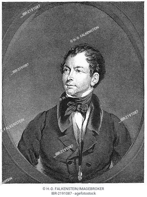 Historial engraving, 19th century, portrait of Thomas Moore, 1779 - 1852, Irish poet, writer, translator and ballad singer