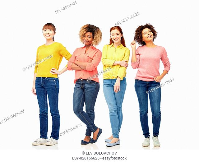 international, people, race, ethnicity and portrait concept - happy young women over white background