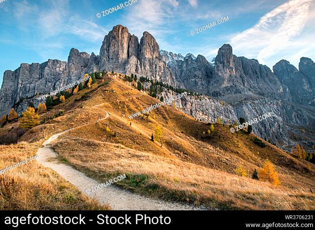 Beautiful mountain landscape of the picturesque Dolomites at Passo Gardena area in South Tyrol in Italy