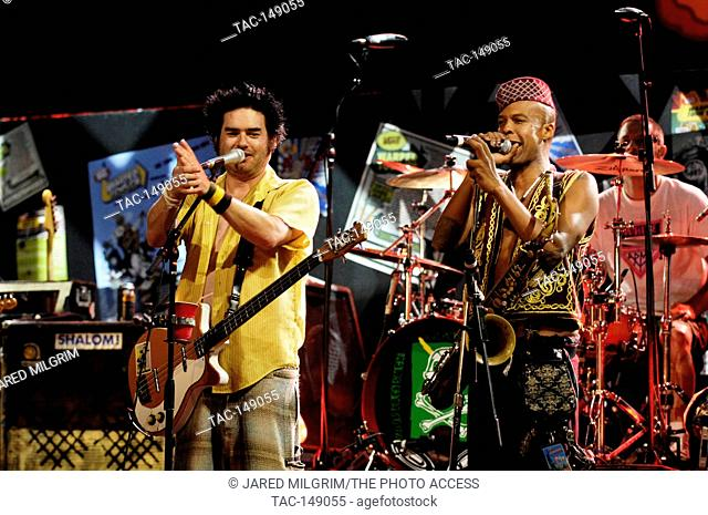 Angelo Moore of Fishbone (r) and Fat Mike of NOFX perform at the Vans Warped Tour 15th Anniversary Celebration at Club Nokia on September 6, 2009 in Los Angeles
