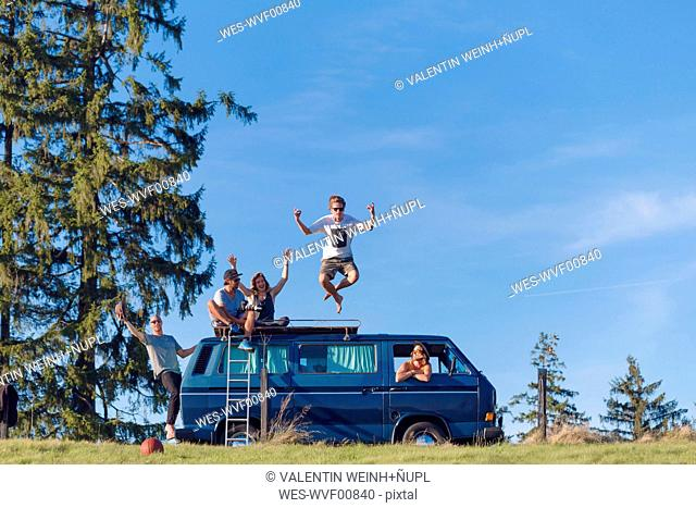 Group of friends having fun at van in the nature