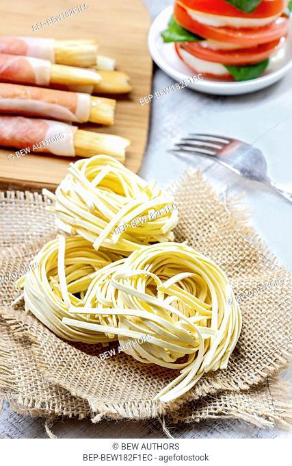 Italian pasta tagliatelle nests