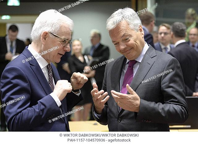 Minister of Foreign Affairs, Republic of Poland Jacek Czaputowicz (L) and Belgian Minister of Foreign Affairs Didier Reynders (R)