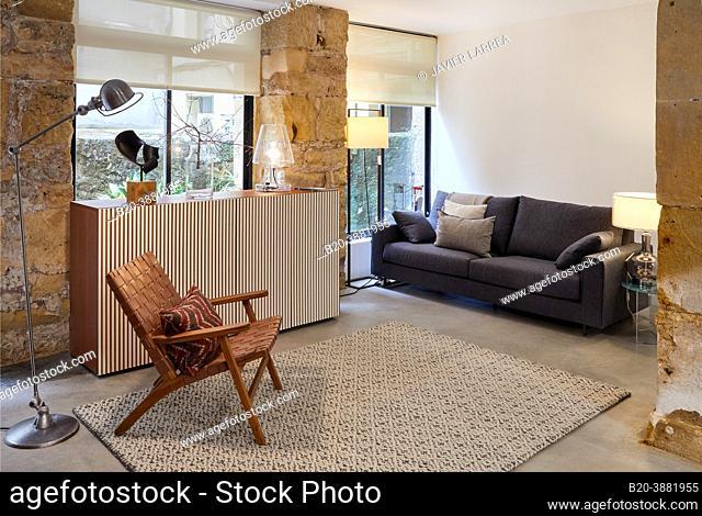 Armchair, Sofa and sideboard furniture, Living room, Interior decoration store, Donostia, San Sebastian, Gipuzkoa, Basque Country, Spain, Europe