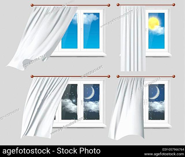 Vector realistic illustration of white plastic windows with white fluttering curtains, day and night sky outside windows