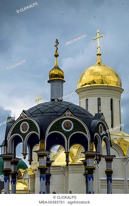 Holy Trinity Saint Sergius Lavra, Sergiyev Posad, Moscow region, Russia, Eurasia, Blessing of water-canopy chapel