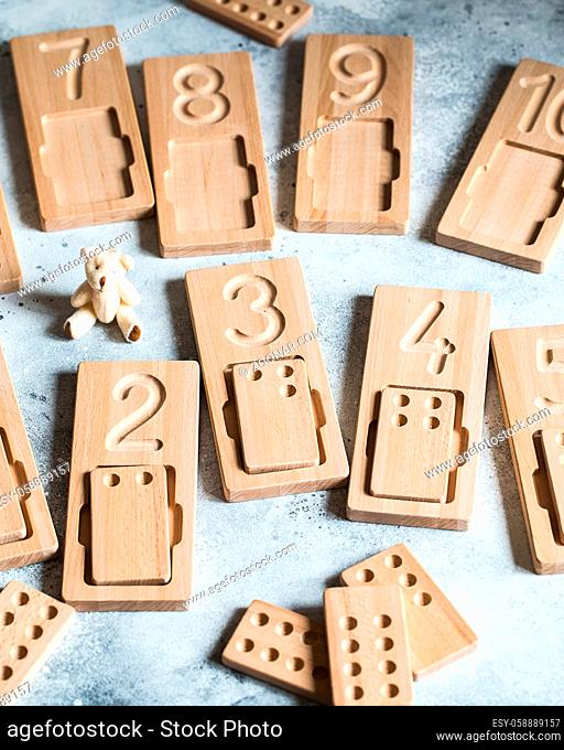 Wooden counting and writing trays - learning resource for educating littles on number writing, fine motor skills, hand eye coordination, mathematical skills