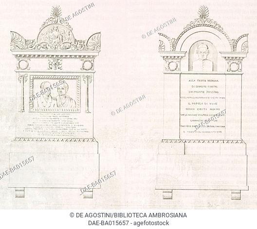 Gravestones of Gioacchino Fabris and Domenica Moretti (Giuseppe Fabris' parents), on the left, and of pastor Ermete Contri