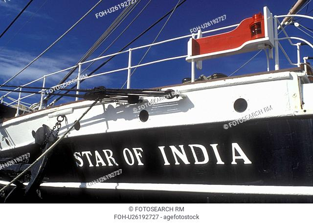San Diego, California, CA, 1863 Star of India a three-mast merchant ship docked at the Maritime Museum of San Diego in San Diego Harbor