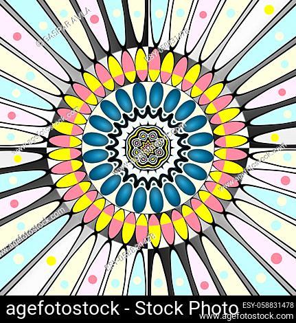 Mandala in happy festive colors, with spots. Digital art