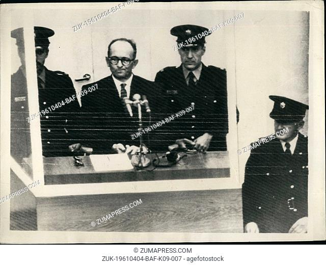 Apr. 04, 1961 - Opening of the Adolf Eichmann trial in Jerusalem. Charged with Mass Murder of the Jews: The trial opened this morning in Jerusalem of Adolf...