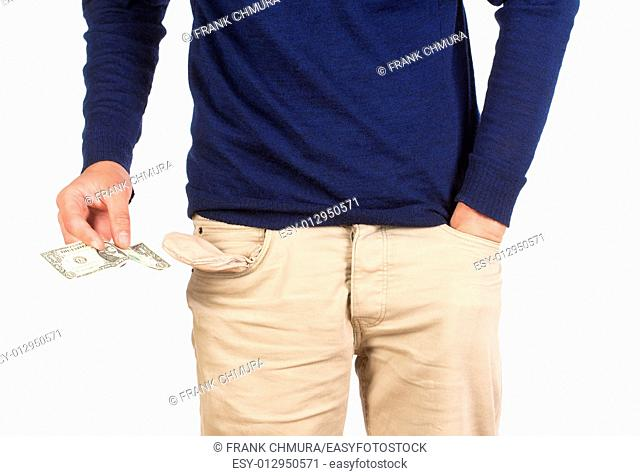 Man Searching for Cash in his Pockets