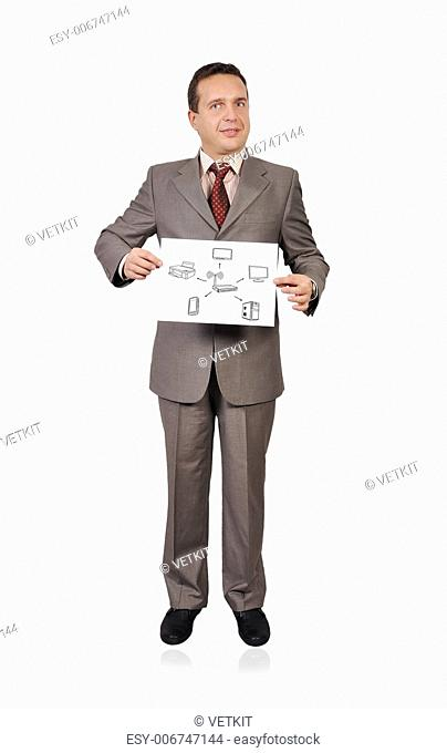 businessman holding placard with scheme wi-fi