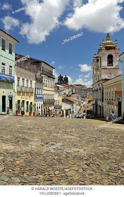 Brazil, Bahia, Salvador, Pelourinho: The triangular plaza Largo do Pelourinho within Salvador de Bahia's beautifully restored historic center of Pelourinho