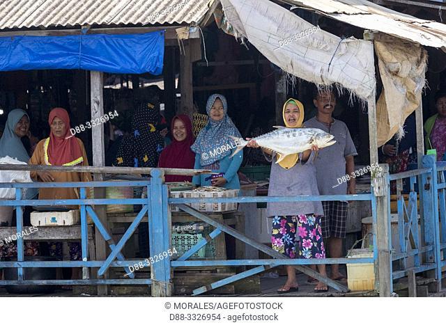 Asie, Indonésie, Bornéo,Kalimantan, Ville de Kumai, marché aux poissons, femme montrant n poisson/ Asia, Indonesia, Borneo, Tanjung Puting National Park