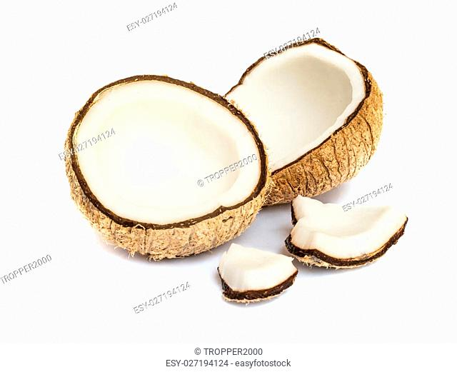 Half of coconut close up on a white background