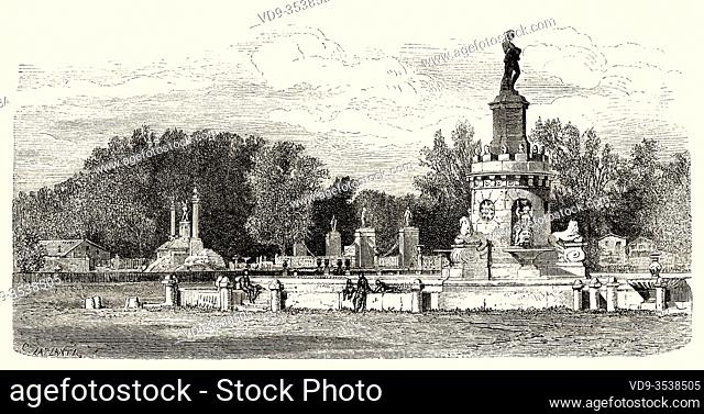 Fountain of the Mariblanca in Aranjuez, Madrid. Spain, Europe. Old 19th century engraved illustration, El Mundo en la Mano 1878