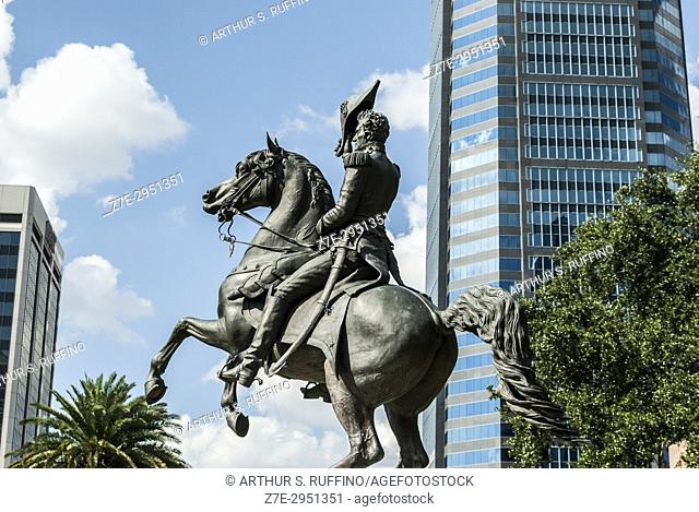 Equestrian statue of Andrew Jackson, The Landing, downtown, Jacksonville, Florida, United States of America