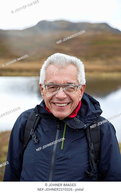 Senior man in mountains