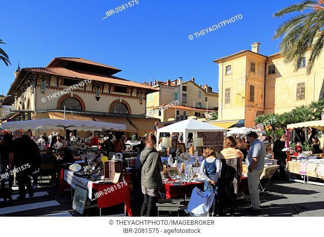 Market hall and antiques market, Menton, Alpes-Maritimes department, Provence-Alpes-Cote d'Azur region, France, Europe