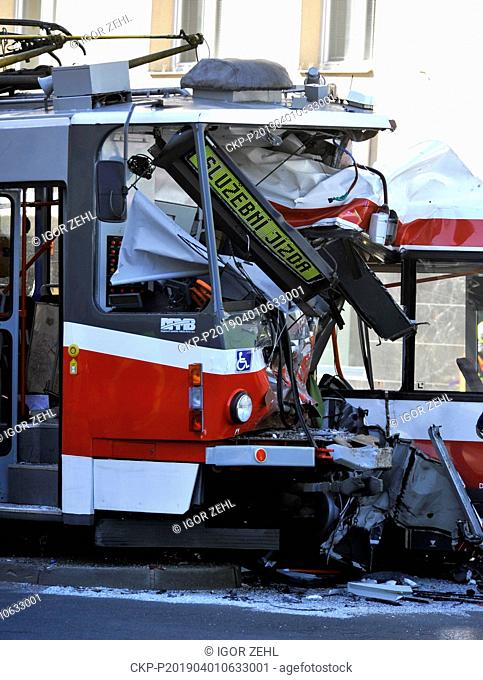 Forty people suffered injuries, 12 of them severe, in a collision of a trolleybus and a tram in the centre of Brno, Czech Republic, April 1, 2019