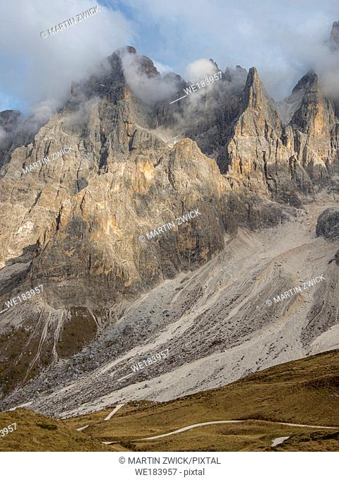 Peaks towering over Val Venegia seen from Passo Costazza. Pala mountain range (Pale di San Martino) in the dolomites of Trentino