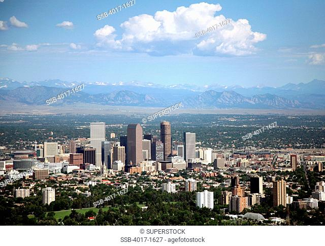 Denver Skyilne and Rocky Mountains with Cheesman Park