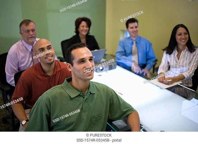 High angle view of a group of business executives in a conference