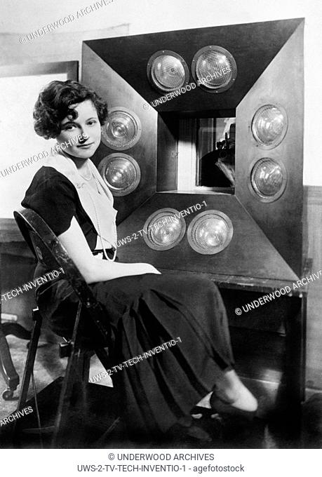 New York, New York: July, 1931 Natalie Towers, the first Television Girl sits in front of Columbia Broadcasting System's telecasting camera