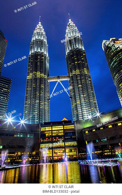 Petronas Twin Towers lit up at night, Kuala Lumpur, Federal Territory of Kuala Lumpur, Malaysia