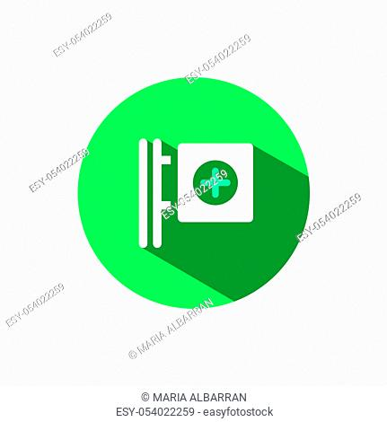 Cross pharmacy sign icon with shadow on a green circle. Flat color vector pharmacy illustration