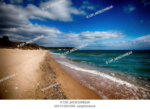Empty sandy beach near the sea. HDR image
