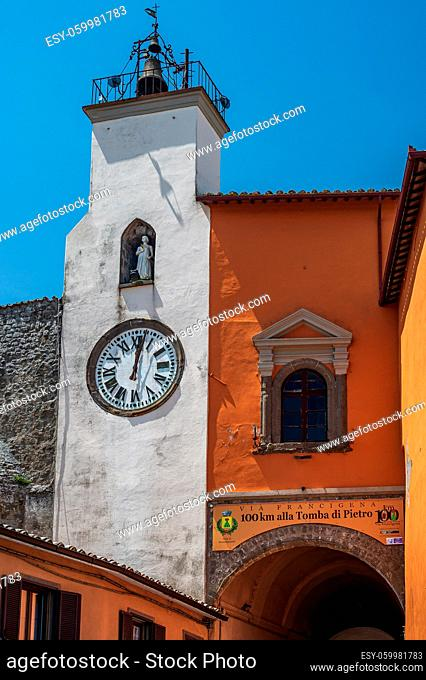 Clock Tower at the gate, entering the old town of Montefiascone, one the Bolsena Lake