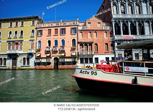 Cityscape of Venice from canal, Italy