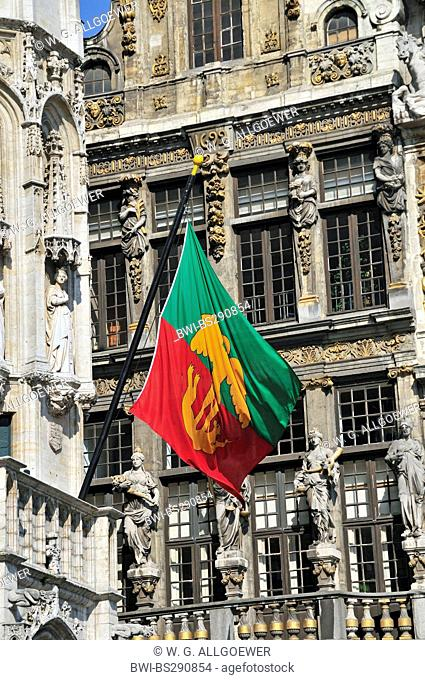 flag of Brussels at the facade of gothic town hall at Grand Place, Belgium, Brussels