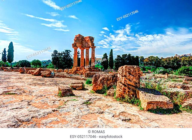 Agrigento, Sicily. Temple of Castor and Pollux one of the greeks temple of Italy, Magna Graecia. The ruins are the symbol of Agrigento city