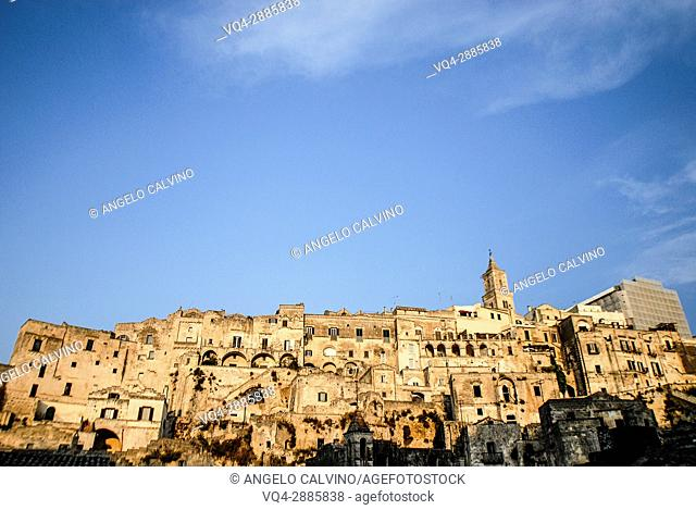 Sassi of Matera while the sun in going down, Matera, Basilicata, Italy, UNESCO World Heritage Site