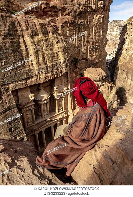 Bedouin Man at The Treasury view point, Petra, Ma'an Governorate, Jordan (MR)