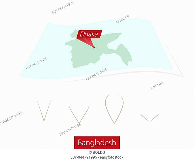 Curved paper map of Bangladesh with capital Dhaka on Gray Background. Four different Map pin set. Vector Illustration