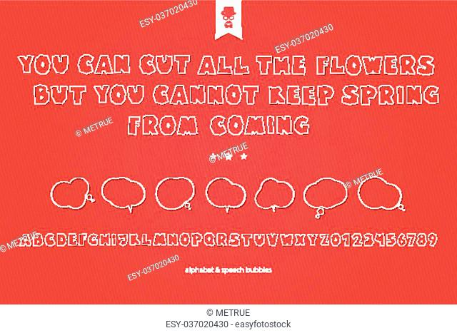 set of white paper stickers, stylish alphabet letters, numbers and speech bubbles isolated on red background. vector, 3d style font type design