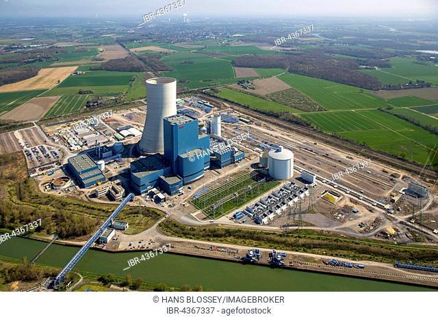 Aerial view, power plant construction EON Datteln 4, construction freeze, Dortmund-Ems Canal, Datteln, Ruhr district, North Rhine-Westphalia, Germany