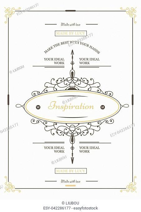 Monogram creative card template with flourishes ornament elements. Elegant design for cafe, restaurant, heraldic, jewelry, fashion