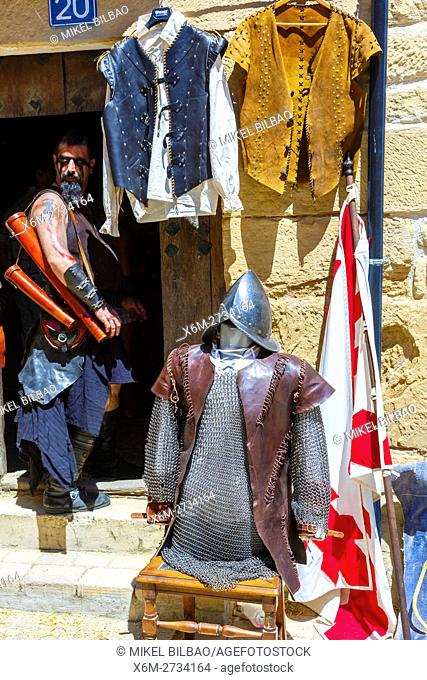 Coat of mail and helmet in a shop. Witchery Week 2016. Bargota, Navarre, Spain, Europe