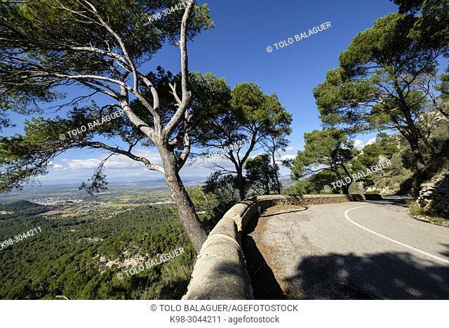 carretera al santuario de Sant Salvador, Felanitx, Mallorca, balearic islands, Spain