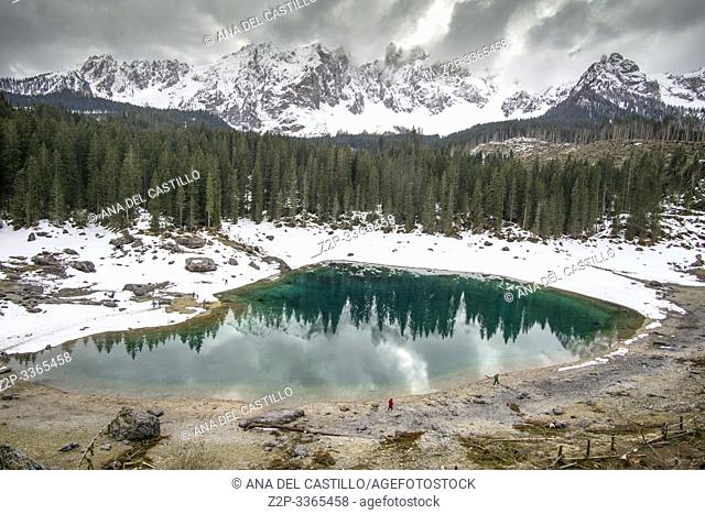 Karersee lake and Dolomites in the morning, Welschnofen South Tirol Italy