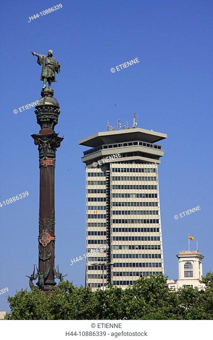 Spain, Europe, Catalonia, Barcelona, harbour, port, Rambla del Mar, building, construction, statue, Colon, Columbus