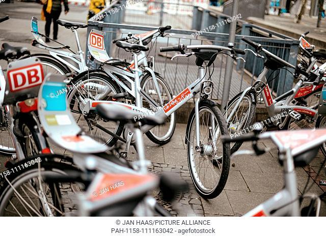 Rental bikes of the provider Call a Bike of the Deutsche Bahn, taken on 09/11/2018 in Frankfurt | usage worldwide. - Frankfurt am Main/Hessen/Germany