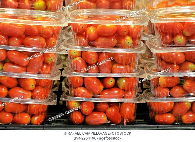 Cherry tomatoes for sale. Barcelona, Catalonia, Spain
