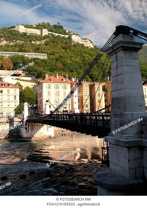 France, Grenoble, Isere, Rhone-Alpes, Europe, Isere River, bridge, Fort de la Bastille